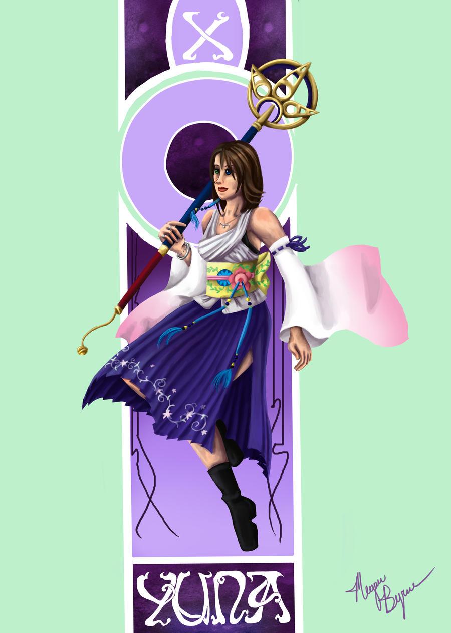 Final fantasy nouveau yuna by megadee fan art digital art drawings