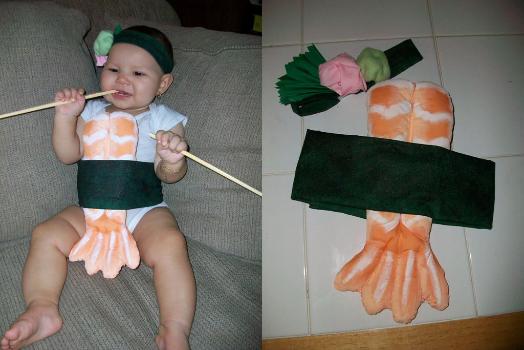 I dressed Pon Pon up as salmon sushi. Yes, sushi! Does this depict Asian stereotype? Perhaps. But I've been wanting to dress her up in this costume ever since I came across a random picture of a sushi baby a few years ago (even before she was born)! This is Pon Pon with her dad, at .