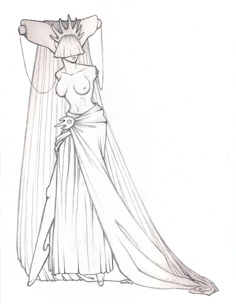 High priestess - pencils by Tevokkia
