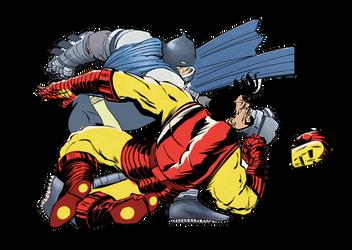 Batman v Iron Man by sunnysighup