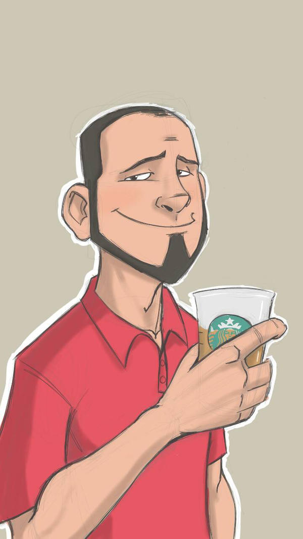 Starbucks selfie by MustacheMayhem