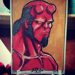 Inktober Day 17 - Hellboy by MustacheMayhem