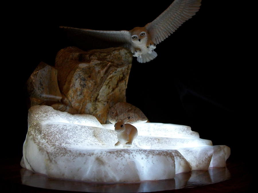 Ivory Snowy Owl lighted by tomkush