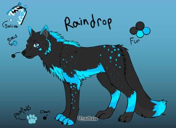 Raindrop (Main Fursona, Simplified Design) by Lizthewolflover