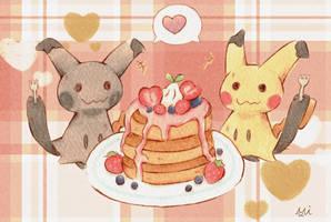 Mimikyu's pancake party by Mii320