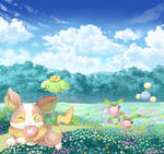 Yamper And Grass Pokemon by Mii320