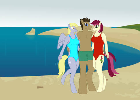 Time Turner, Derpy and Roseluck at the beach