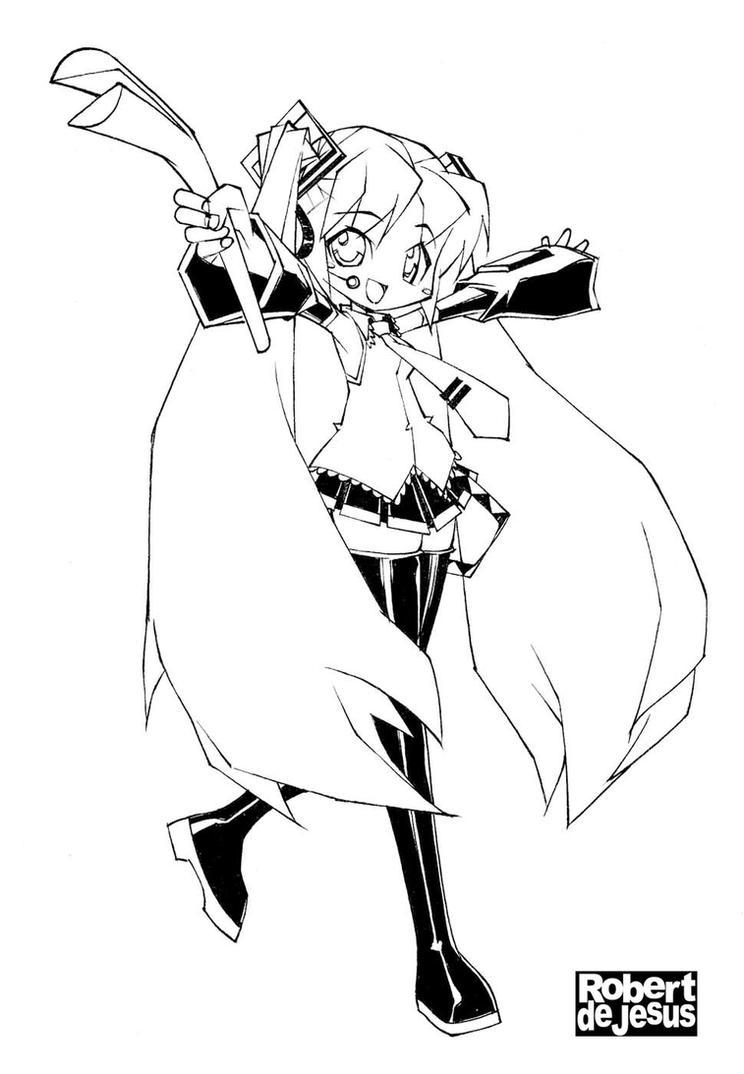 hatsune miku line art by banzchan on deviantart