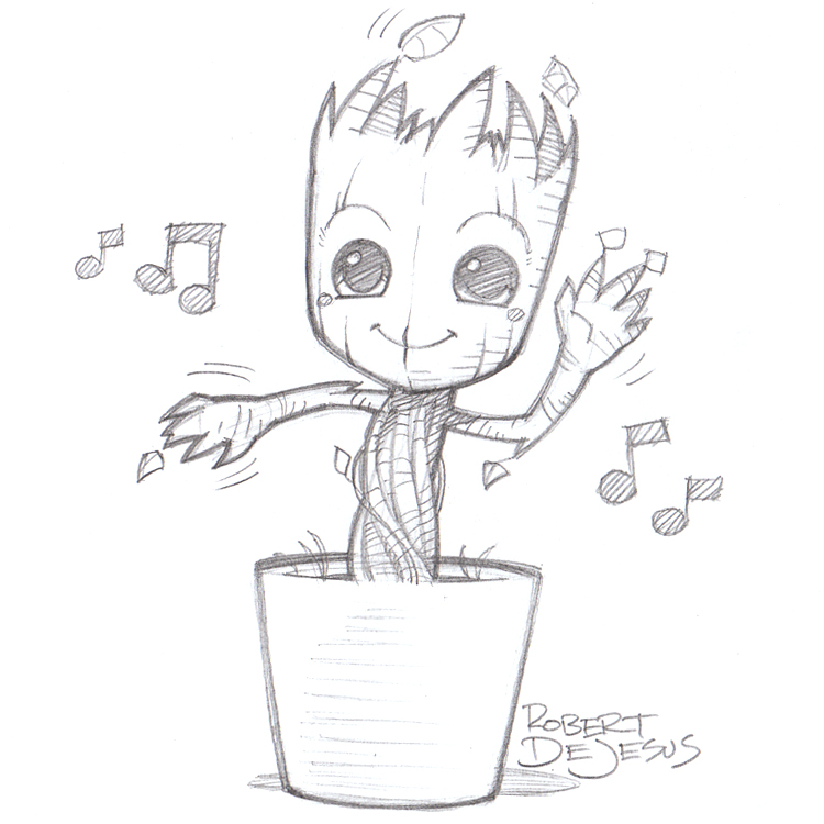 D Line Drawings Quote : Dancing groot by banzchan on deviantart