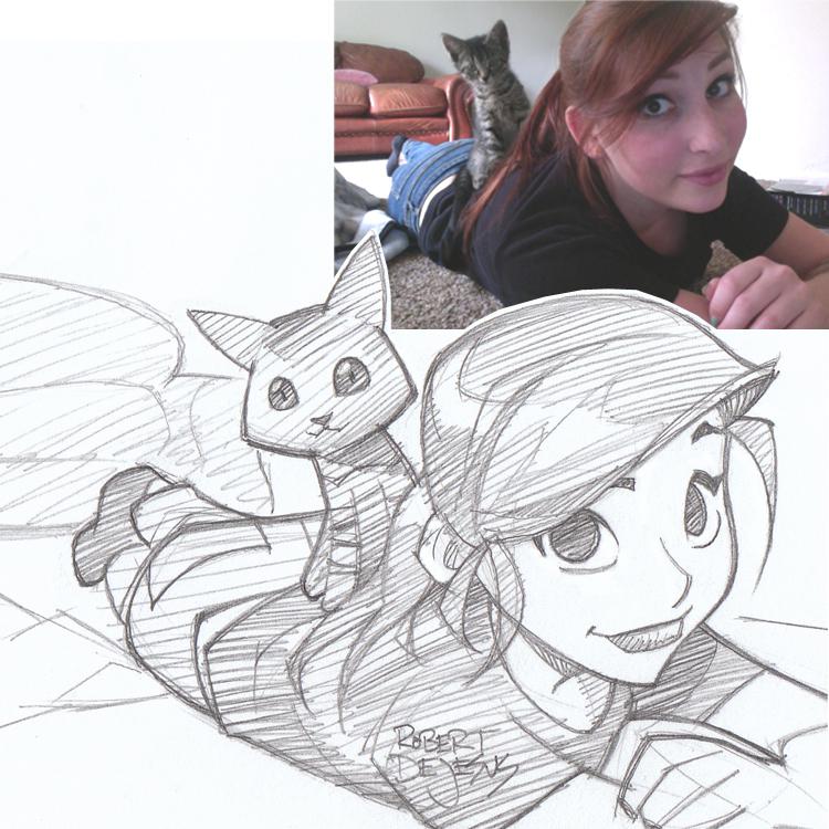 Artista transforma fotografías de personas en personajes de anime Dejafeutre_sketch_by_banzchan-d7yattx