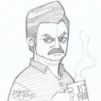 Ron Swanson by Banzchan