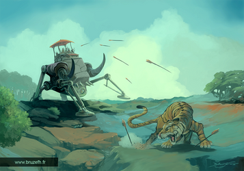 Chasse au tigre (Tiger hunting) by Bruzefh