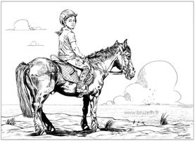Fillette et son cheval (Girl and horse)
