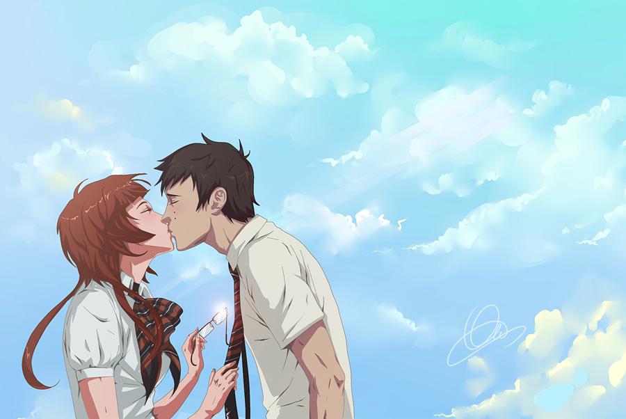 : first kiss : by Lala-Mot