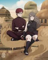 : commission : Gaara and Michiru : by Lala-Mot