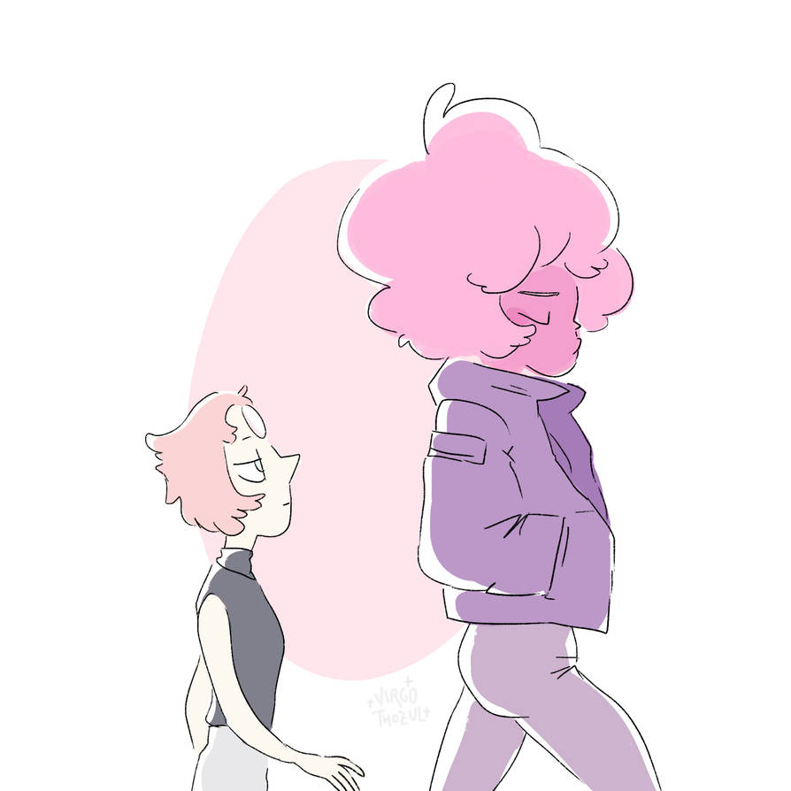 just some random casual pearl and pink diamond hanging out :--) not very fresh either but as long as the last steven universe episode came out this could make a good shot