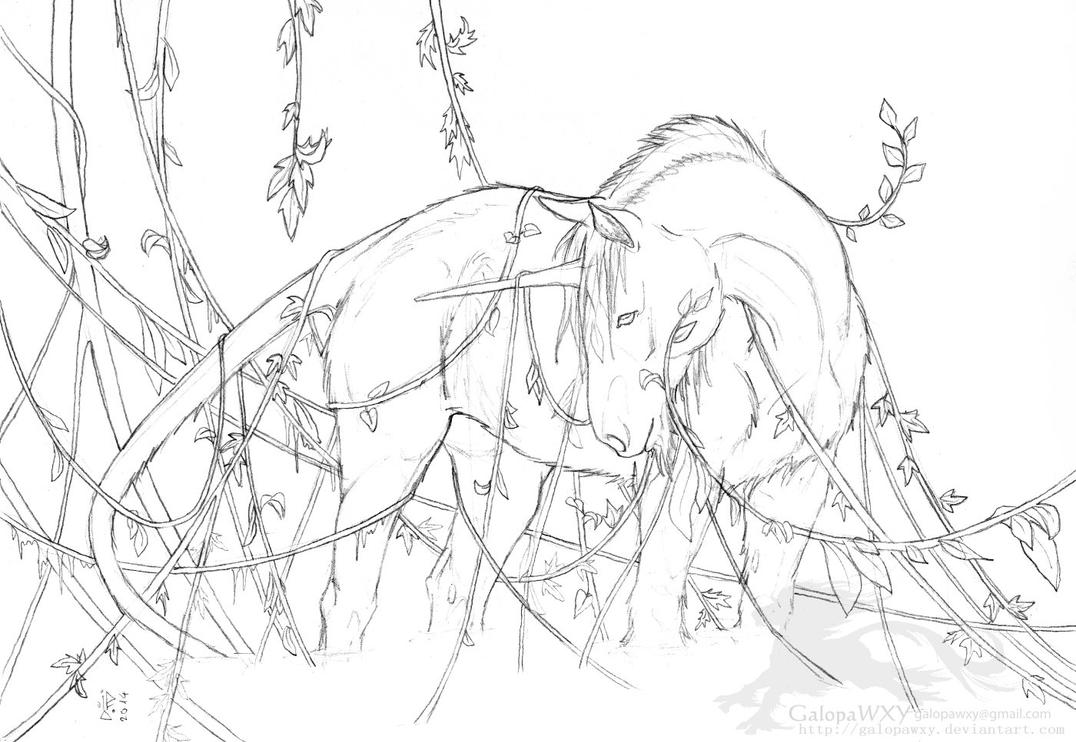 Hairy unicorn with vines by GalopaWXY