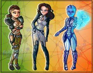 Mass Effect Girls by kellieabomination