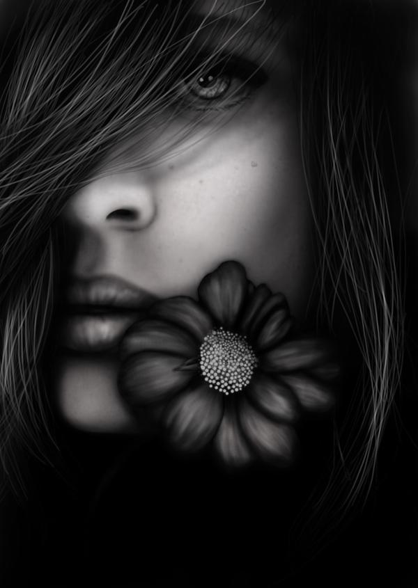 Girl and Flower by DarkMastress