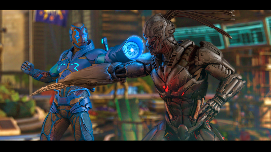 Blue Beetle vs Triborg by Mike92evil92