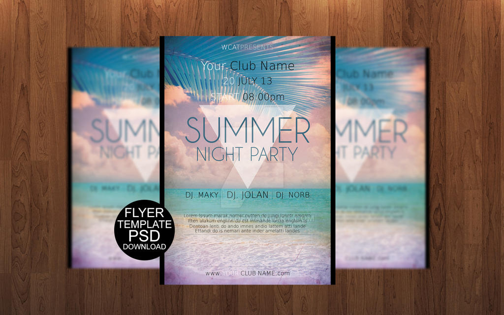 Summer Night Party Flyer Template By Wcatd On Deviantart
