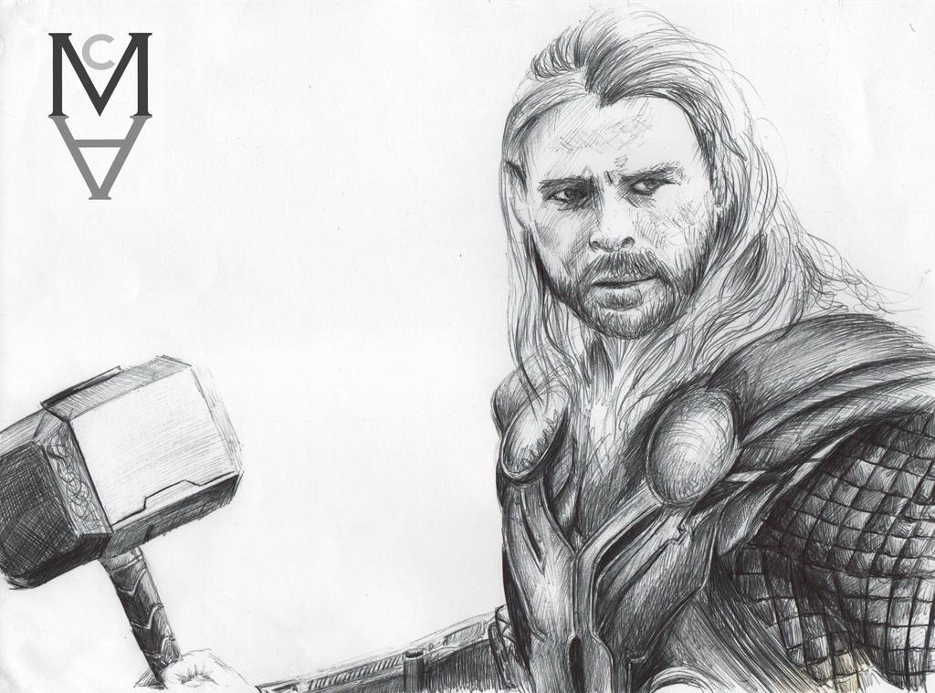 Chris Hemsworth as Thor by sarah-mca-art