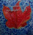 Blatt Rot auf Blau