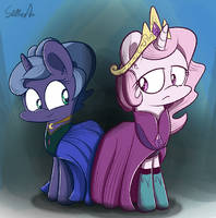 Queen Celestelsa and Princess Luanna by Slitherpon