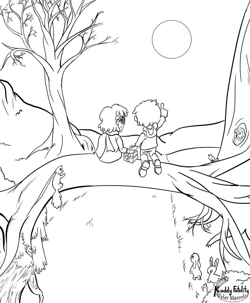 Under the Moon Lineart by KuddlyFatality