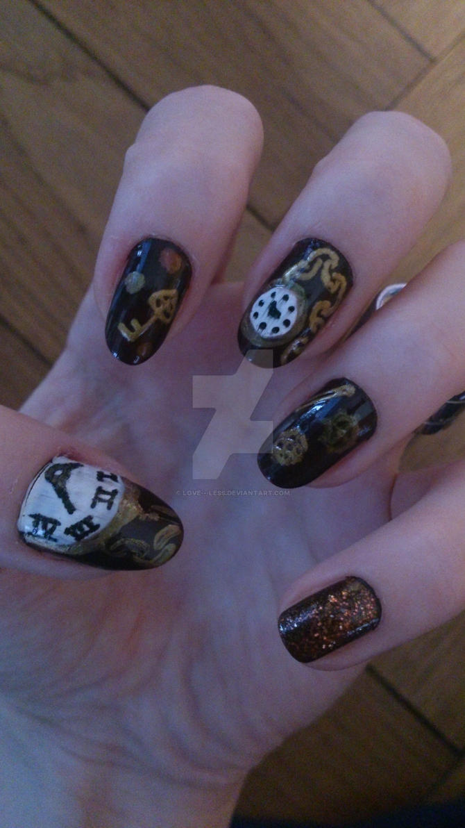 Steampunk Nails by love---less