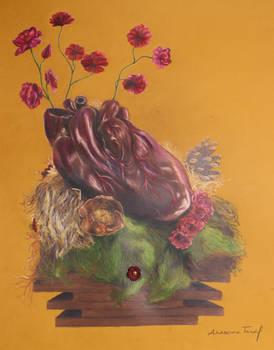 Coeur en fleurs (dessin, 2018)