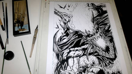 Inking Process Lobo Hell by DaveLungArt