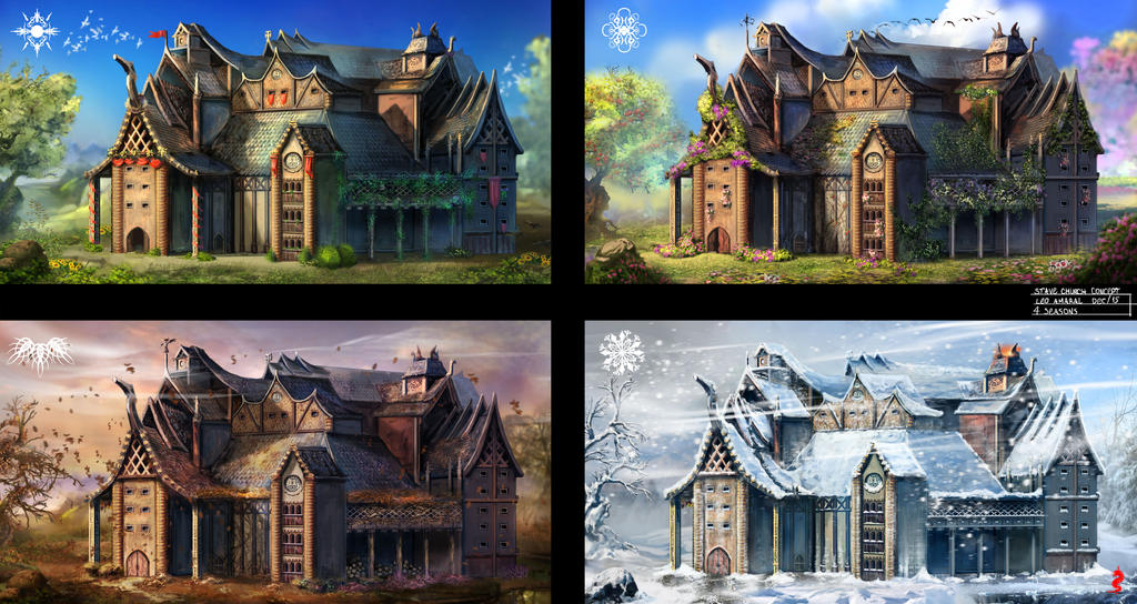 Stave Church 4 Seasons by ltramaral