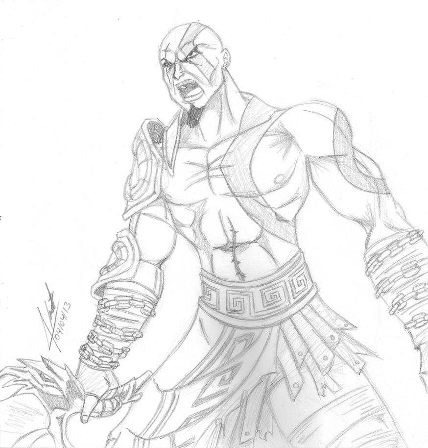 Line Art God Images : Kratos god of war by dragonnegro on deviantart