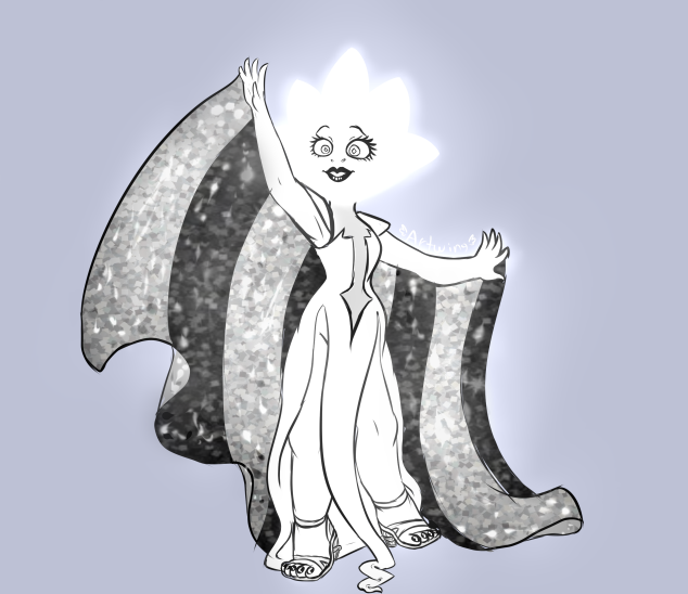 So i saw the newest episode of steven universe and i love white diamonds design and im very curious about why shes so glowy and wtf up with her pearls eye?