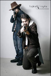 Rick Grimes (me) and Carl Grimes cosplay from TWD by ervhal