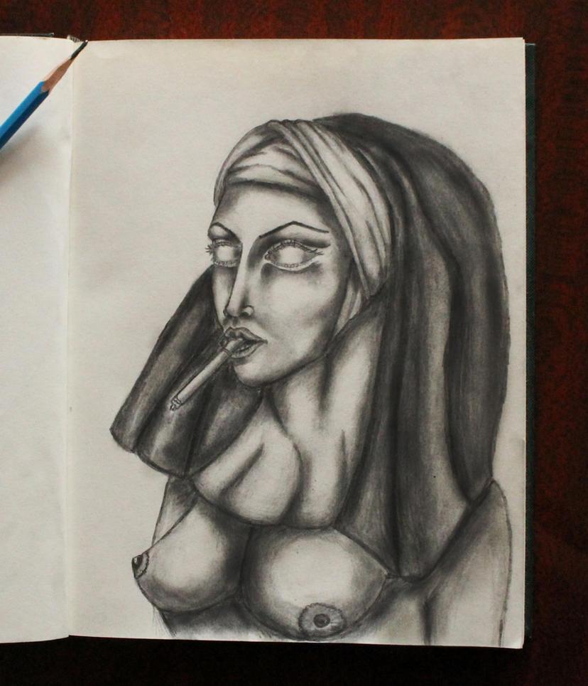 Demon nun smoking you by Sandzhar