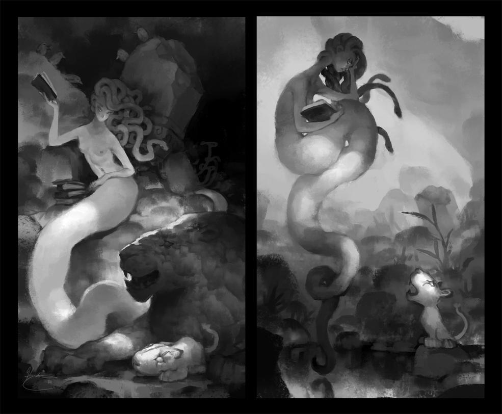 Medusa and the lion by k-atrina