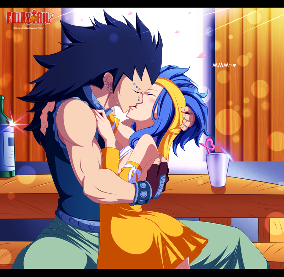 gajeel x levy kiss by darkmaza on deviantart
