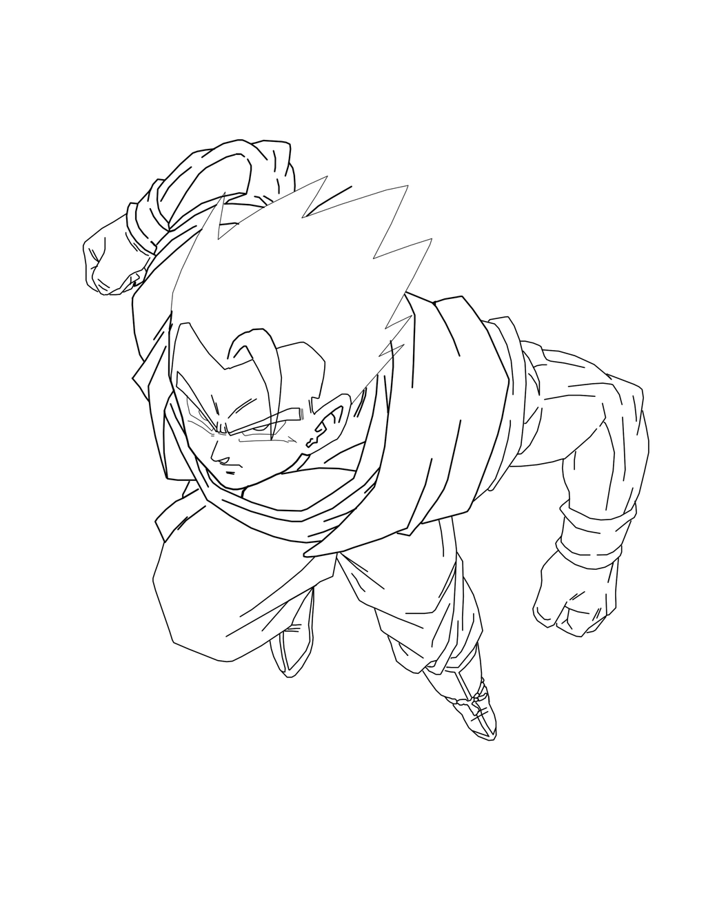Line Art Render : Gohan render line art by brusselthesaiyan on deviantart