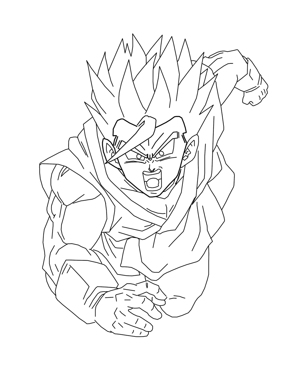 Line Art Render : Gohan ssj render line art by brusselthesaiyan on deviantart