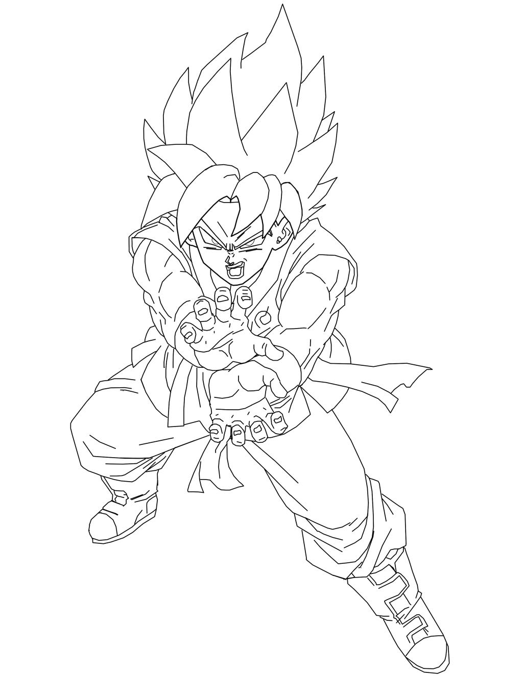 Super Saiyan Blue Goku lineart by BrusselTheSaiyan on ...