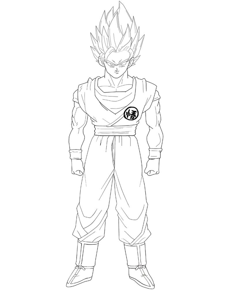Super Saiyan 2 Goku Lineart by BrusselTheSaiyan on DeviantArt