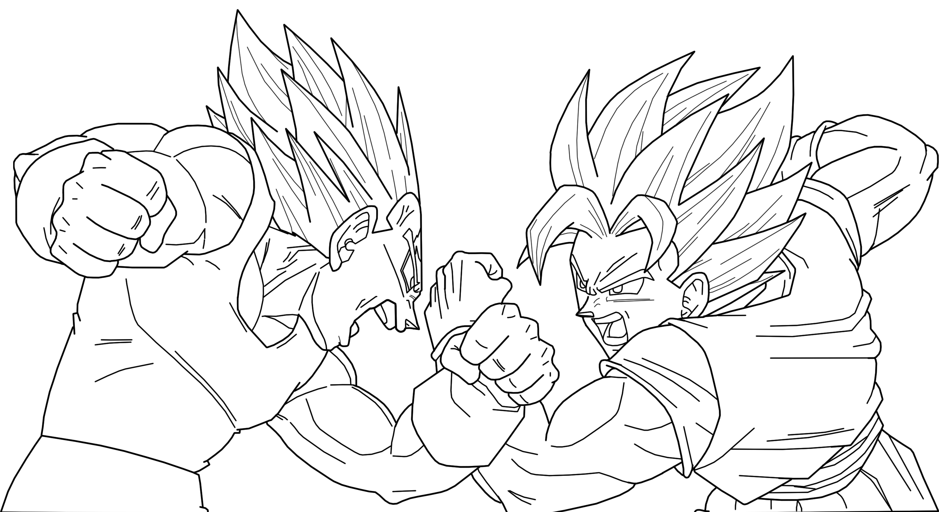 Majin Vegeta Vs SSJ2 Goku Lineart By BrusselTheSaiyan On