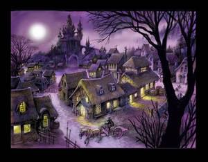 medieval village at night