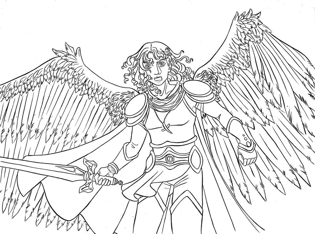 Archangel michael lineart free to color by the winter girl for Archangel michael coloring page