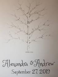 Fingerprint Guestbook - birch tree