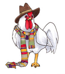 The Fourth Doctor as a Chicken by alamedyang