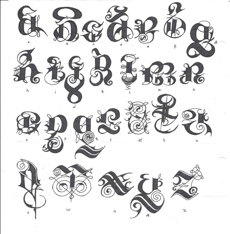 Gothic script full alphabet by izjhafere on deviantart Script art
