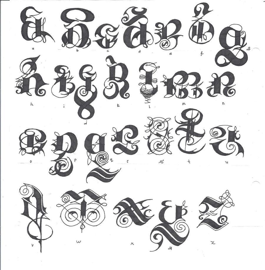Gothic Scriptfull Alphabet By Izjhafere